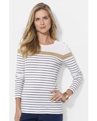 Lauren Ralph Lauren Button Shoulder Stripe Top