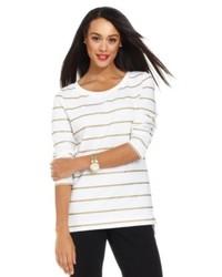 Charter Club Long Sleeve Striped Lurex Tunic