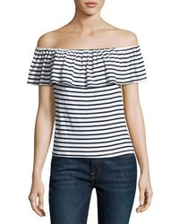 990d585415c1e White Horizontal Striped Off Shoulder Tops for Women