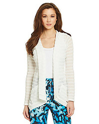 White Horizontal Striped Open Cardigan