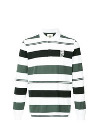 White Horizontal Striped Polo Neck Sweater