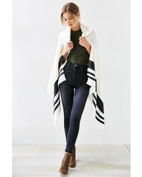 Blanket Stripe Toggle Poncho