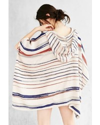 Broken Stripe Hooded Open Poncho