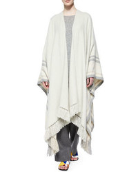 The Row Cashmere Blend Striped Fringe Poncho