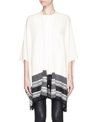 Vince Stripe Hem Wool Cashmere Open Front Poncho