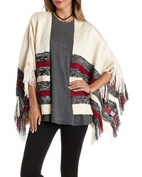 Striped Fringe Poncho Sweater