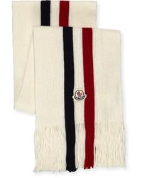 Moncler Logo Stripe Fringed Scarf White