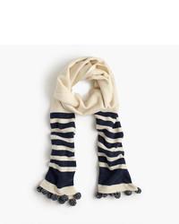 Striped scarf with pom poms medium 957020