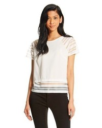 White Horizontal Striped Short Sleeve Blouse