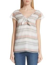 Flutter sleeve stripe organza blouse medium 8760335