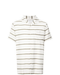 White Horizontal Striped Short Sleeve Shirt