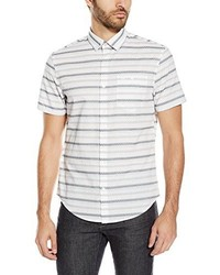 Short sleeve horizontal dobby stripe button down shirt medium 3684016