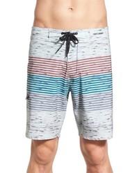 White Horizontal Striped Shorts