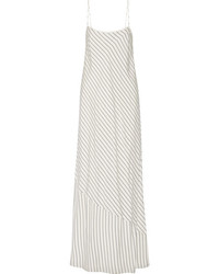 The Row Streb Striped Silk Crepe De Chine Maxi Dress Ivory