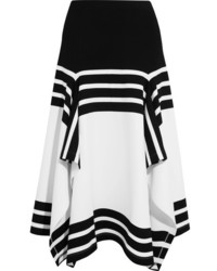 Rosetta Getty Asymmetric Striped Stretch Jersey Midi Skirt White