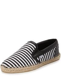 Jimmy Choo Vlad Striped Espadrille Slip On Sneaker Blackwhite