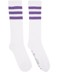 White Horizontal Striped Socks