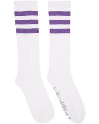 White Horizontal Striped Socks