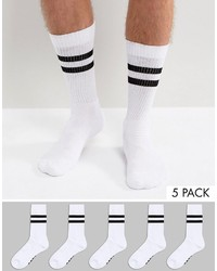 Asos Branded Tube Style Socks In Monochrome With Stripes 5 Pack