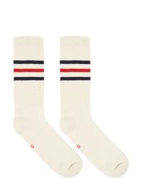 Gucci Off White Striped Logo Socks