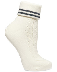 Miu Miu Striped Stretch Wool Socks Ivory