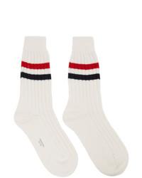 Thom Browne White Cashmere Chunky Rib Rwb Stripe Socks