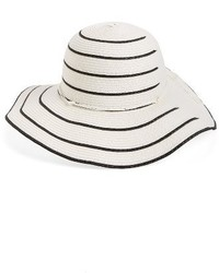 David & Young Stripe Straw Floppy Hat White