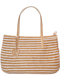 White Horizontal Striped Straw Tote Bag