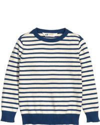 H&M Fine Knit Cotton Sweater Natural Whitestriped Kids