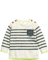 H&M Knit Cotton Sweater Whitestriped Kids