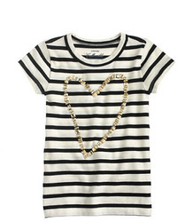 J.Crew Girls Gold Heart Striped T Shirt