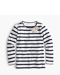J.Crew Girls Striped Embellished Metallic Flower T Shirt