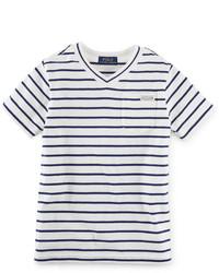 Ralph Lauren Little Boys Striped V Neck T Shirt