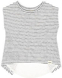 River Island Mini Girls Blue Stripe Split Back T Shirt