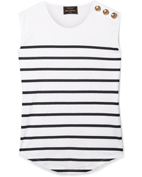 Balmain Button Embellished Striped Cotton Jersey Top