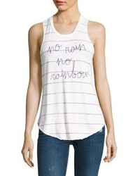 Sundry No Rain Printed Striped Tank