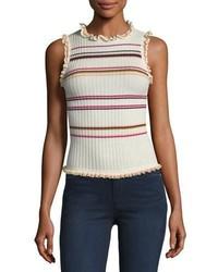Rebecca Taylor Sleeveless Ruffled Striped Rib Knit Tank