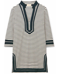 Tory Burch Striped Cotton Blend Terry Tunic Black
