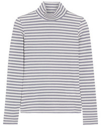 Golden Goose Deluxe Brand Iman Striped Stretch Cotton Blend Turtleneck Top White