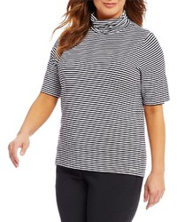 MICHAEL Michael Kors Michl Michl Kors Plus Stripe Knit Jersey Short Sleeve Turtleneck Top