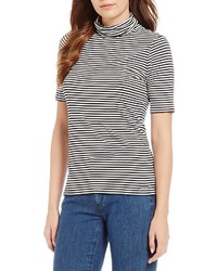 MICHAEL Michael Kors Michl Michl Kors Stripe Knit Jersey Short Sleeve Turtleneck Top