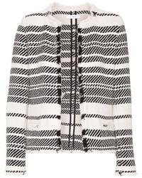 IRO Zlata Striped Cotton Blend Tweed Jacket Ivory