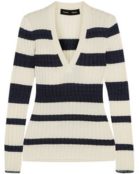 Proenza Schouler Striped Ribbed Wool Blend Sweater Off White