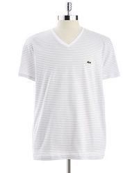 Lacoste Heritage Striped V Neck Jersey T Shirt