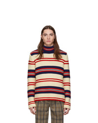 Gucci Off White Striped Tricot Pour La Cote Dazur Turtleneck