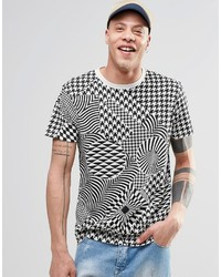 Cheap Monday Standard T Shirt Psychadelic Houndstooth White