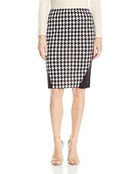 Star Vixen Stretch Ponte Knit Sexy Secretary Pencil Skirt With Lace Insets