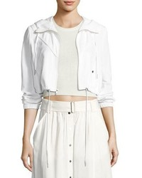A.L.C. Broderick Cropped Hooded Jacket White