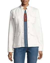 Tory Burch Button Front Army Jacket W Lace Up Sides White
