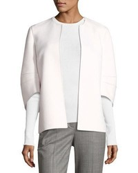 Michael Kors Michl Kors Collection Cookie Collarless Short Jacket With Articulated Sleeve White